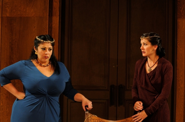 DTC resident actor Christie Vela and Trinity Rep resident actor Angela Brazil play sisters Goneril and Regan