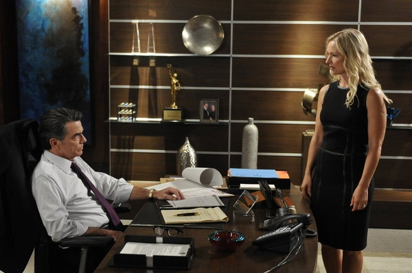 (l-r) Peter Gallagher as Arthur Campbell, Kari Matchett as Joan Campbell -- (Photo by: Steve Wilkie/USA Network)