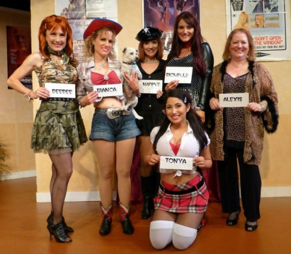 Trashy DeeDee (Alison Mattiza), lovable Bianca (Jennifer Richardson),  seasoned grand dame Nadine (Victoria Miller), young newbie Tonya (Azeen Kazemi), ringleader Richelle (Amanda Majkrzak, and level-headed Alexis (Susan Goldman Weisbarth)