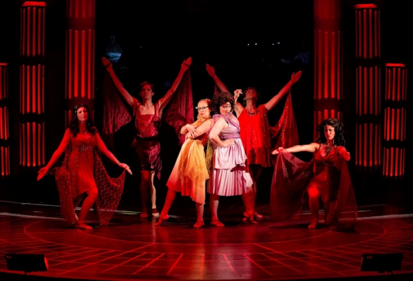 Leslie Andrews as Calliope (center, left)  and Aimee Collier as Melpomene (center, right) with Sirens: Maggie Stahl, Ben Donahoo, Matthew Ryan Thompson and Kathleen Ferrini