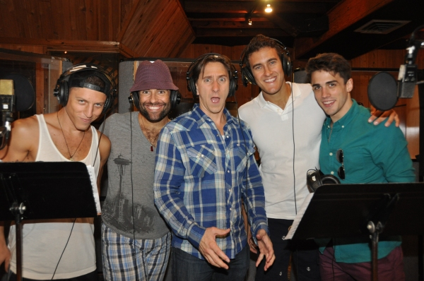 Ari Loeb, David W. Gilleo, Luther Creek, Adam Roberts and Brett Thiele at Exclusive Photos: SPIDER-MAN Cast Records 'Carols For A Cure'