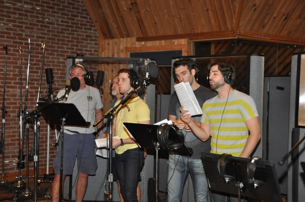 Timothy Shew, George Lee Andrewsm Jason Lee Garrett, Johnny Stellard and Daniel Torres at Photo Exclusive: Michael Cerveris, Elena Roger, Max von Essen and EVITA Cast Sing 'Carols For A Cure'