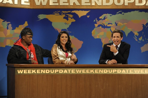Jay Pharaoh, Cecily Strong, Seth Meyers  at Seth MacFarlane Hosts SNL Season Premiere
