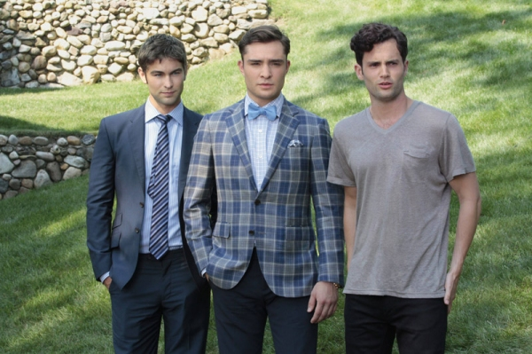 Chace Crawford as Nate Archibald, Michelle Trachtenberg as Georgina Sparks, Ed Westwick as Chuck Bass, Leighton Meester as Blair Waldorf and Penn Badgley as Dan Humphrey at First Look at the Season Premiere of GOSSIP GIRL - Gone Maybe Gone 10/8