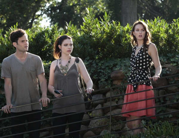 Penn Badgley as Dan Humphrey, Michelle Trachtenberg as Georgina Sparks and Leighton Meester as Blair Waldor at First Look at the Season Premiere of GOSSIP GIRL - Gone Maybe Gone 10/8