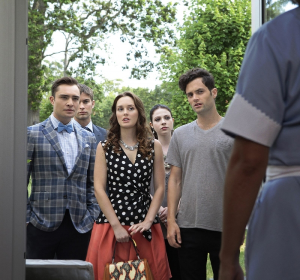 Ed Westwick as Chuck Bass, Chace Crawford as Nate Archibald, Leighton Meester as Blair Waldorf, Michelle Trachtenberg as Georgina Sparks and Penn Badgley as Dan Humphrey at First Look at the Season Premiere of GOSSIP GIRL - Gone Maybe Gone 10/8