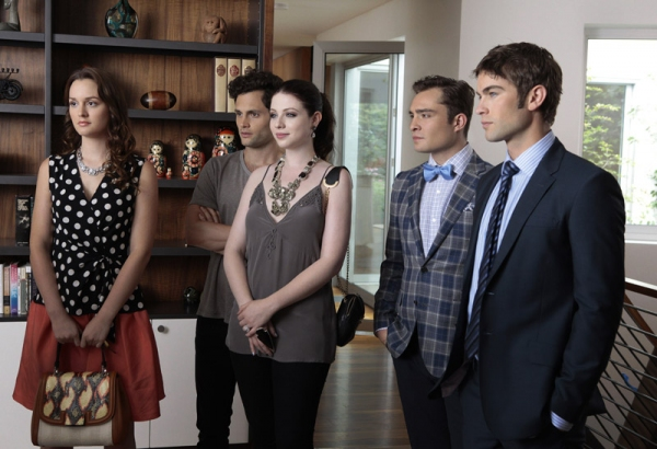 Leighton Meester as Blair Waldorf, Penn Badgley as Dan Humphrey, Michelle Trachtenberg as Georgina Sparks, Ed Westwick as Chuck Bass and Chace Crawford as Nate Archibald