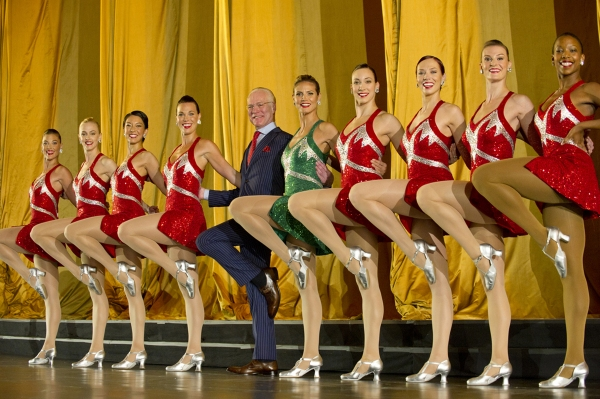 Tim Gunn and Heidi Klum dance with the Rockettes