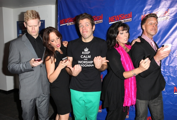 Tommy Walker, Leslie Kritzer, Perez Hilton, Christine Pedi, Michael West at Perez Hilton Opens in NEWSical The Musical