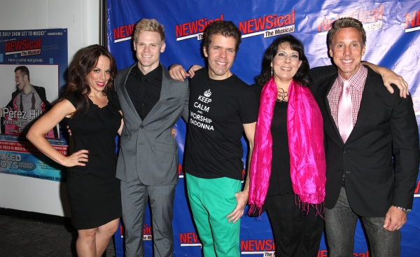 Leslie Kritzer, Tommy Walker, Perez Hilton, Christine Pedi, Michael West  at Perez Hilton Opens in NEWSical The Musical