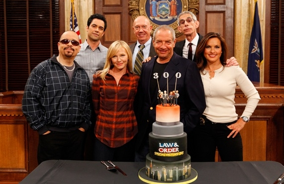 Ice-T, Danny Pino, Kelli Giddish, Dann Florek, Dick Wolf, Richard Belzer, Mariska Hargitay at LAW & ORDER: SVU Celebrates 300th Episode