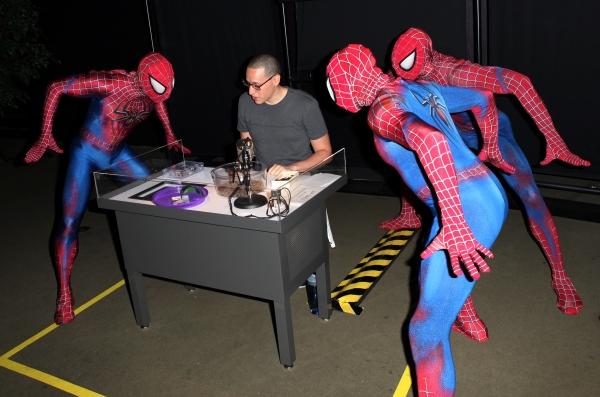 Spider-man cast  visit with Emerson Nunez  of  'Spiders Alive!'
