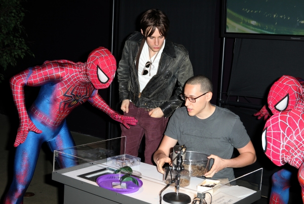 Reeve Carney visits with Emerson Nunez  of  'Spiders Alive!'