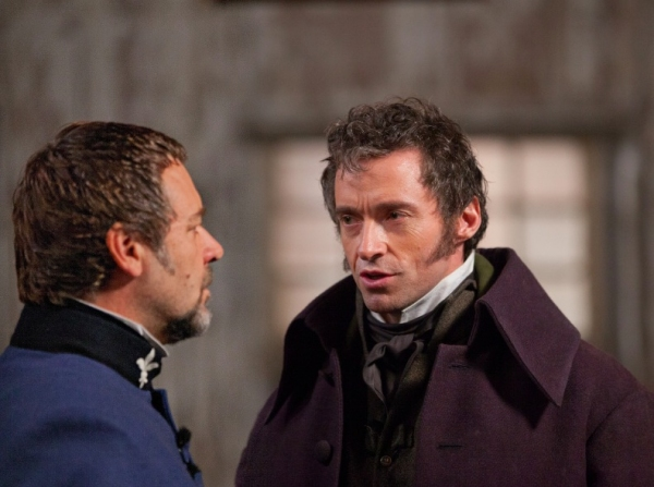 Russell Crowe and Hugh Jackman at Check Out the Latest LES MISERABLES Film Stills Featuring Anne Hathaway, Samantha Barks and More!