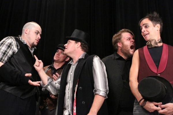 The Politicians in New Line Theatre's 'Bloody Bloody Andrew Jackson' -- From left to right, Zachary Allen Farmer as John Quincy Adams, BC Stands as John Calhoun, Mike Dowdy as James Monroe, Nicholas Kelly as Henry Clay, and Brian Claussen as Martin Van Bu at Meet the Cast of New Line Theatre's BLOODY BLOODY ANDREW JACKSON