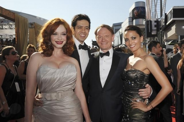THE 64TH PRIMETIME EMMY(r) AWARDS - The 64th Primetime Emmy Awards broadcasts live from 8:00-11:00 p.m., ET/5:00-8:00 p.m., PT., Sunday, September 23, 2012 exclusively on ABC. (ABC/MATT PETIT)CHRISTINA HENDRICKS, GEOFFREY AREND, JARED HARRIS at 2012 Emmys Red Carpet - Part 2