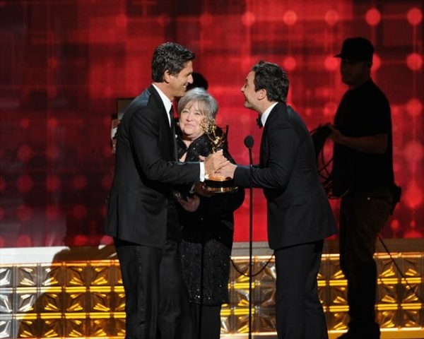 THE 64TH PRIMETIME EMMY(r) AWARDS - The 64th Primetime Emmy Awards broadcasts live from 8:00-11:00 p.m., ET/5:00-8:00 p.m., PT., Sunday, September 23, 2012 exclusively on ABC. (ABC/TODD WAWRYCHUK)STEVEN LEVITAN, KATHY BATES, JIMMY FALLON