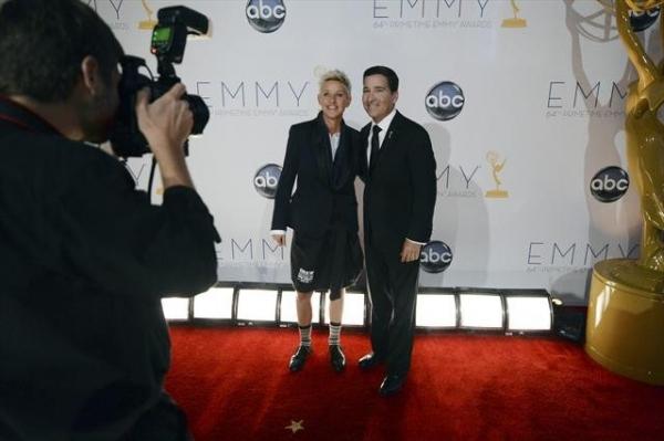 THE 64TH PRIMETIME EMMY(r) AWARDS - The 64th Primetime Emmy Awards broadcasts live from 8:00-11:00 p.m., ET/5:00-8:00 p.m., PT., Sunday, September 23, 2012 exclusively on ABC. (ABC/MATT BROWN)ELLEN DEGENERES, BRUCE ROSENBLUM