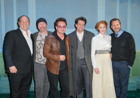 20120922 Copyright image 2012©Hollywood producer Harvey Weinstein and U2 front man Bono and The Edge with the cast at the opening night of Harvey Weinsteinâ�¿��¿�s new musical Finding Neverland at The Curve theatre, LeicesterFor further info ple at Photos and Video: Inside Opening Night of FINDING NEVERLAND in Leicester - Plus a Special Preview!