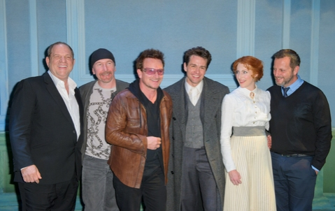 20120922 Copyright image 2012©Hollywood producer Harvey Weinstein and U2 front man Bono and The Edge with the cast at the opening night of Harvey Weinsteinâï�¿½ï�¿½s new musical Finding Neverland at The Curve theatre, LeicesterFor further  at Photos and Video: Inside Opening Night of FINDING NEVERLAND in Leicester - Plus a Special Preview!