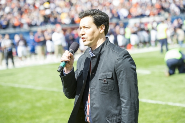Photo Flash: LUCY's Bill Mendieta Performs National Anthem at Bears Game