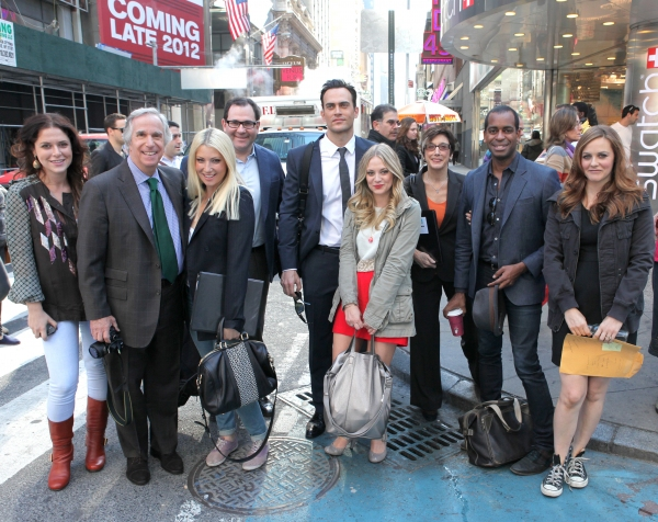 "The cast and creative team of ""The Performers"", from left, producer Amanda Lipitz, actor Henry Winkler, actress Ari Graynor, producer Scott M. Delman, actor Cheyenne Jackson, actress Jenni Barber, producer Robyn Goodman, actor Daniel Breaker and actress"