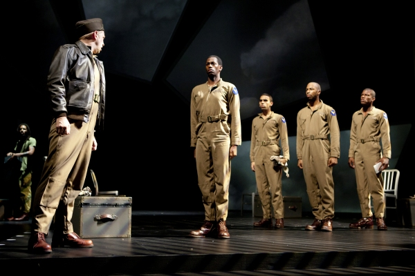James Konicek as Capt. O'Hurley with Eric Berryman, Christopher Wilson, Mark Hairston and Damian Thompson as Tuskegee Airmen