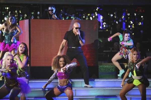 DANCING WITH THE STARS: ALL-STARS: THE RESULTS SHOW - 'Episode 1501A' - Global superstar Pitbull hit the stage with the primetime television debut of his new single, 'Don't Stop the Party,' from his upcoming album, 'Global Warming,' during the live two-ho at Dancing with the Stars First Results Show + Justin Bieber!