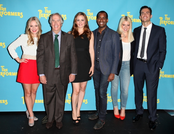 The cast of 'The Performers', from left, actress Jenni Barber, actor Henry Winkler, actress Alicia Silverstone, actor Daniel Breaker, actress Ari Graynor and actor Cheyenne Jackson at Alicia Silverstone, Cheyenne Jackson and Cast of THE PERFORMERS Meets the Press!