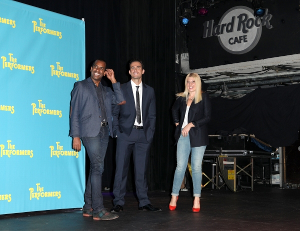 Daniel Breaker, actor Cheyenne Jackson and actress Ari Graynor at Alicia Silverstone, Cheyenne Jackson and Cast of THE PERFORMERS Meets the Press!
