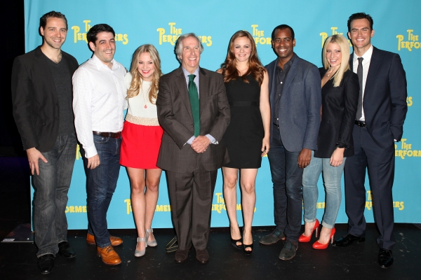 The cast and creative team of 'The Performers', from left, playwright David West Read, director Evan Cabnet, actress Jenni Barber, actor Henry Winkler, actress Alicia Silverstone, actor Daniel Breaker, actress Ari Graynor and actor Cheyenne Jackson at Alicia Silverstone, Cheyenne Jackson and Cast of THE PERFORMERS Meets the Press!