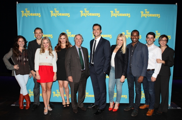 The cast and creative team of 'The Performers', from left, producer Amanda Lipitz, playwright David West Read, actress Jenni Barber, actress Alicia Silverstone, actor Henry Winkler, actor Cheyenne Jackson, actress Ari Graynor, actor Daniel Breaker, direc at Alicia Silverstone, Cheyenne Jackson and Cast of THE PERFORMERS Meets the Press!
