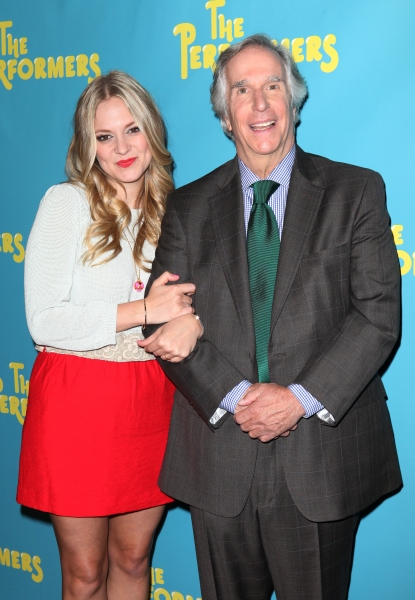 Jenni Barber and actor Henry Winkler at Alicia Silverstone, Cheyenne Jackson and Cast of THE PERFORMERS Meets the Press!