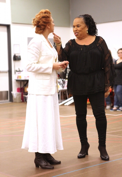 Carolee Carmello and Roz Ryan  at In Rehearsal with the Cast of SCANDALOUS!