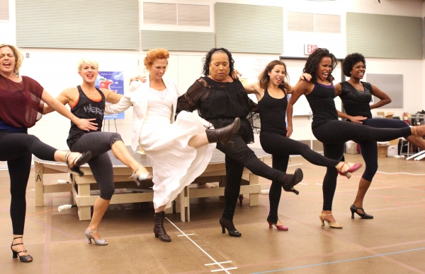 Carolee Carmello and Roz Ryan with ensemble cast performing  at In Rehearsal with the Cast of SCANDALOUS!