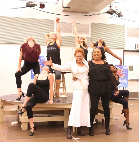 Carolee Carmello and actress Roz Ryan with ensemble cast  at In Rehearsal with the Cast of SCANDALOUS!