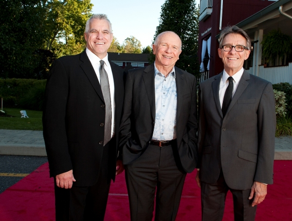 Michael Ross, Westport Country Playhouse managing director; Terrence McNally, gala honoree; Mark Lamos, Playhouse artistic director at Nathan Lane, Marin Mazzie and More Honor Terrence McNally at Westport Country Playhouse