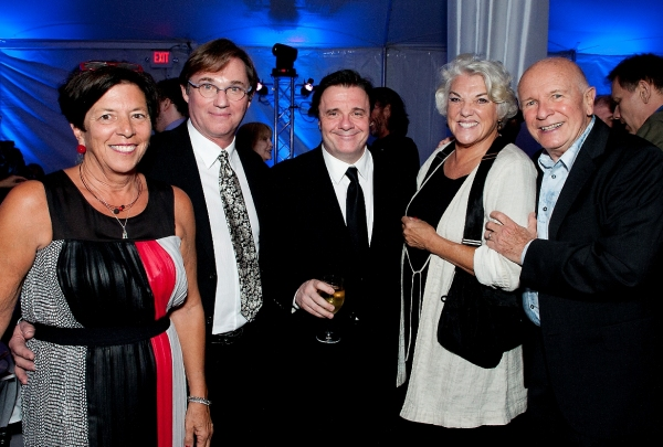 Ann Sheffer, Westport Country Playhouse board of trustees member; Richard Thomas, gala host; Nathan Lane, guest; Tyne Daly, gala host; Terrence McNally, honoree at Nathan Lane, Marin Mazzie and More Honor Terrence McNally at Westport Country Playhouse