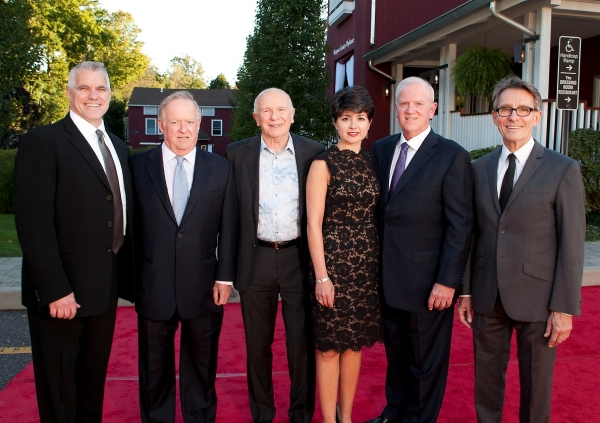 Michael Ross, Westport Country Playhouse managing director; Robert Stonehill, gala co-chair; Terrence McNally, honoree; Katia and John Friend, gala co-chairs; Mark Lamos, artistic director. Absent from photo: Carlyn Stonehill, gala co-chair at Nathan Lane, Marin Mazzie and More Honor Terrence McNally at Westport Country Playhouse