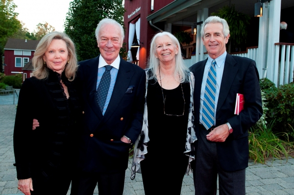 Elaine and Christopher Plummer, Westport Country Playhouse board of trustees member; Anne Keefe, Playhouse artistic advisor; James Naughton; Playhouse artist circle member at Nathan Lane, Marin Mazzie and More Honor Terrence McNally at Westport Country Playhouse