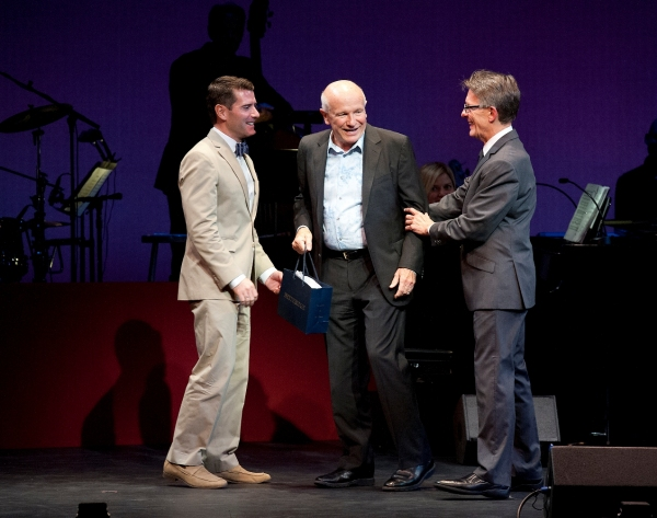 Chad Beguelin, playwright; Terrence McNally, honoree; Mark Lamos, Westport Country Playhouse artistic director at Nathan Lane, Marin Mazzie and More Honor Terrence McNally at Westport Country Playhouse