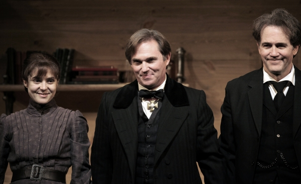 Maite Alina, Richard Thomas and Boyd Gaines at AN ENEMY OF THE PEOPLE - Opening Curtain Call!