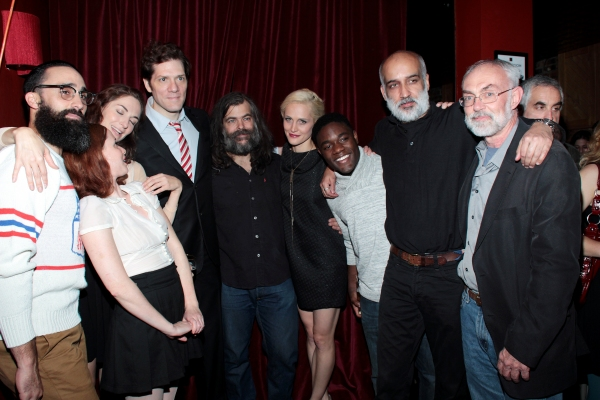 Matt Pilieci, Hani Furstenberg, Danielle Slavick, Adam Rapp, Brian Mendes, Joanne Tucker, Vladimir Versailles, Alok Tewari, David Van Asselt at Inside Opening Night of THROUGH THE YELLOW HOUR