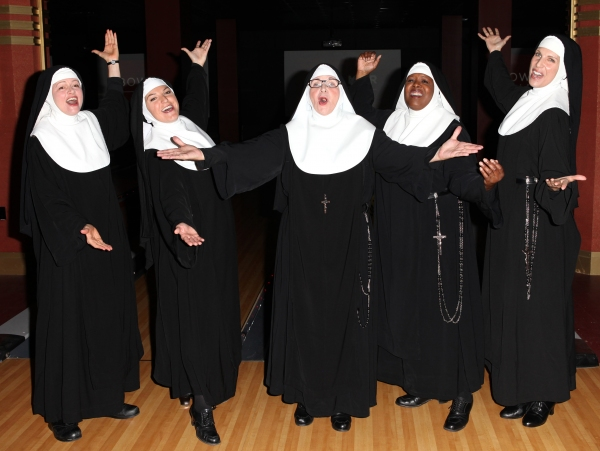 Jeanne Tinker,Christine Mild, Cindy Williams, Bambi Jones and Stephanie Wahl  performing a preview of 'Nunset Boulevard: The Nunsense Hollywood Bowl Show' at the Bowlmor Lanes Thursday, Sept. 27, 2012 in Times Square, New York.