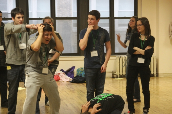 Photo Flash Cast Amp Crew Of Newsies To Work With Students