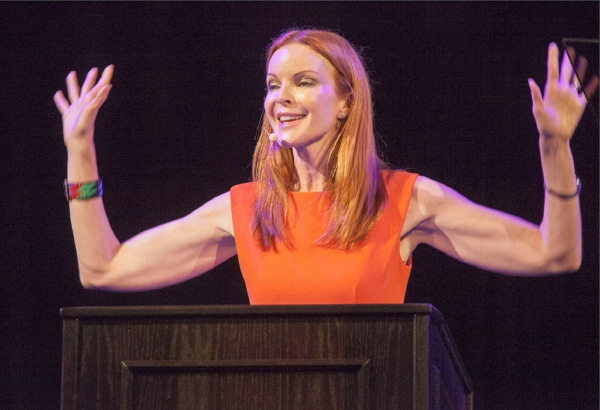 Speaker Marcia Cross addresses the Crowd