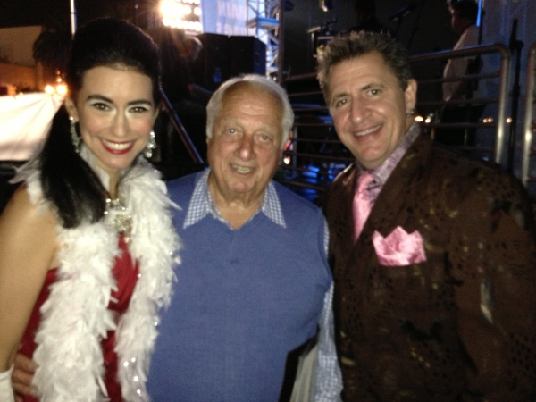 Sarah Spiegel (L) Tommy Lasorda (C), and Louis Prima Jr. (R)