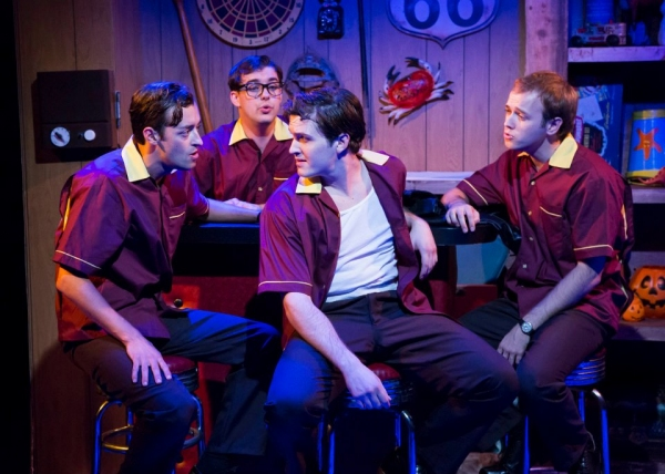 L to R: Dylan Godwin as Wally Patton, Mark Ivy as EuGene Johnson, Cameron Bautsch as Skip Henderson, and Adam Gibbs as Denny Varney. Photo by Bruce Bennett.