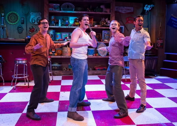 L to R: Mark Ivy as Eugene Johnson, Cameron Bautsch as Skip Henderson, Adam Gibbs as Denny Varney, and Dylan Godwin as Wally Patton. Photo by Bruce Bennett.