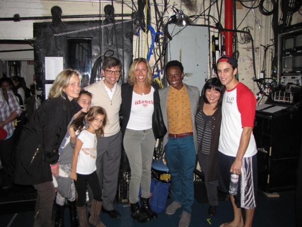 Ali Wentworth, Elliott Stephanopoulos, Harper Stephanopoulos, George Stephanopoulos, Amanda Green (lyrics), Gregory Haney (La Cienega), Ann Harada (SMASH), Michael Mindlin (Ensemble) at Ann Harada & George Stephanopoulos Visit BRING IT ON